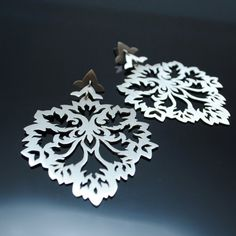 An intricate, solid sterling silver, handmade and unique damask style large dangle drop earring. Per Earring weight: , dimensions x x African Jewelry, Women Jewelry, Unique Jewelry, Pretty Little, Damask, Sterling Silver Earrings, Silver Plate, Dangles, Jewelry Design