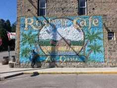 I used to love the show Northern Exposure. I was excited to drive through the small town of Roslyn, WA   and see this mural that was used at the beginning of the show.