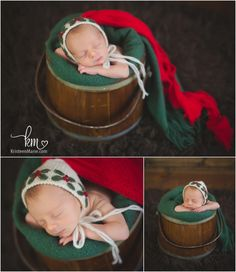 Christmas themed newborn photography set-up - holiday newborn photography