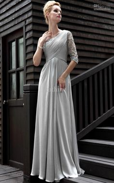 Wholesale Mother of the Bride Dresses - Buy One Shoulder Sweetheart Laces Ruched Beaded Long Sleeve Silver Grey Beaded Long 2013 Ceremony Mother of Bride Dresses, $188.64 | DHgate