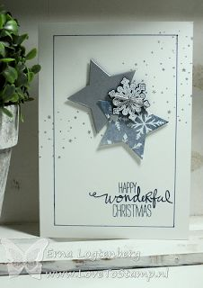 handmade Christmas card from www.lovetostamp.nl ... silver and white stars and a snowflake ... like the design .. Stampin' Up!