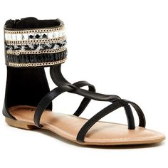 ANNA Footwear Silvia Ankle Cuff Sandal ($20) ❤ liked on Polyvore featuring shoes, sandals, black, ankle cuff shoes, synthetic shoes, embellished shoes, black ankle cuff sandals and black shoes