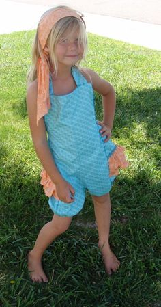 Vintage Inspired Childrens size bubble ruffle romper and hair scarf set. 30.00