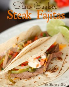 Slow Cooker Steak Fajitas from sixsistersstuff.  Taste just like they came from a restaurant! #recipes #dinner #fajitas