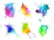 Taches tirées par la main abstraites d'aquarelle réglées Photo stock