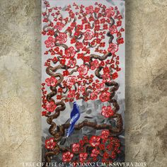BIRD on brunch red blossom tree SAKURA art love painting contemporary artwork acrylic on canvas by Ksavera gift ideas for her decor by KsaveraART #TrendingEtsy