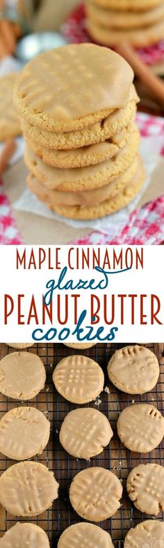 These Maple Cinnamon Glazed Peanut Butter Cookies are going to rock your world with their sweet maple and warm cinnamon flavors!   MomOnTimeout.com   #cookies #peanutbutter