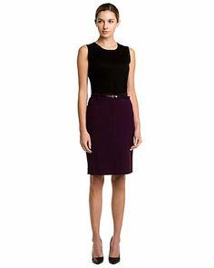 Calvin Klein Aubergine Belted Skirt