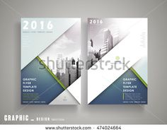 Flyer or Cover Design with city landscape and blue geometric elements