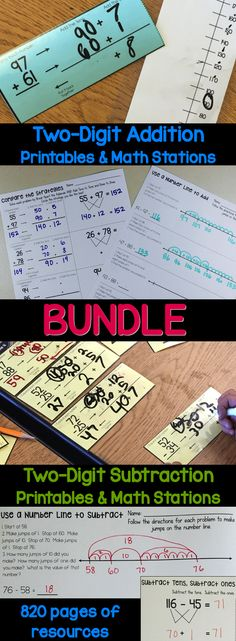 Two-Digit Addition & Subtraction No-Prep Practice & Math Stations is a second grade math BUNDLE focused on two-digit addition and subtraction. This BUNDLE specifically focuses on establishing a variety of strategies for solving two-digit addition and subtraction problems, including using a number line, using base 10 blocks, breaking apart the numbers, subtracting tens, subtracting ones, and compensation.