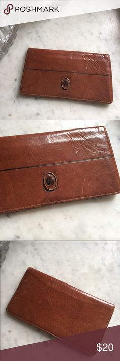 """Vintage Leather checkbook case, G monogram Anyone who has a G monogram this little vintage checkbook case is got you! Silky liner has a few doodle on them but still a great price. Leather looks perfectly worn without looking overly used . Well loved in all the perfect ways!  """"G"""" in black lettering on front in lovely design. Vintage Bags"""