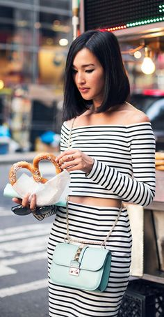 Valentino - striped crop top and slim skirt with baby blue bag.  Fall street style