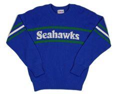 Cliff Engle NFL Proline Seattle Seahawks Sweater in Blue - 1980s