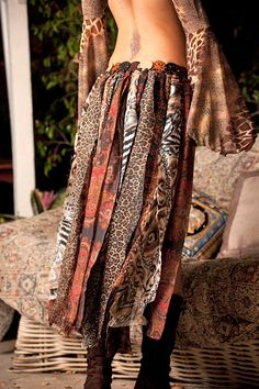 Bustle Belt Custom Made To Order Wild Gypsy Tribal Print Earth-toned Multilayered Up Cycled. $155.00, via Etsy.