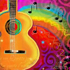 Music Paintings | Sxsw Musical Guitar Fantasy Painting Print Painting