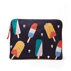 Lizzie Fortunato Embroidered Popsicle Clutch ($380) ❤ liked on Polyvore featuring bags, handbags, clutches, kirna zabete, red leather purse, leather clutches, genuine leather purse, embroidered handbags and real leather handbags