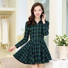 2015 chegada nova outono inverno casual xadrez vestido fino plissado de manga comprida vestido de mulheres(China (Mainland))