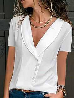 Women Summer Blouses V-neck Solid Color Short Sleeve Shirt Lady Button Office Chiffon Blouse Pullover Tops Blusas Femininas NEW Short Sleeve Button Up, Short Sleeve Blouse, Short Sleeves, Long Sleeve, Mode Shorts, Maxi Robes, Blouse Styles, Colorful Fashion, Plus Size Tops