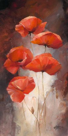 Poppy Bouquet I Canvas Art - Willem Haenraets x Watercolor Flowers, Watercolor Paintings, Poppies Painting, Poppies Art, Red Poppies, Red Flowers, Poppy Flower Painting, Beautiful Flowers, Orange Painting