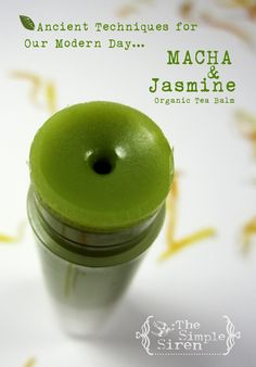 Organic Lip Balm - Matcha Green Tea - Handmade with Jasmine & Mandarin - NEW RECIPE 2013