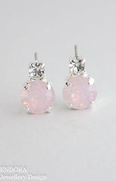Swarovski rose water opal | rose quartz earrings | rose quartz wedding | pink…