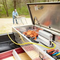 Generate power for corded tools anywhere you go without the cost and hassle of a gas-powered generator by wiring a power inverter to your truck battery.-SR