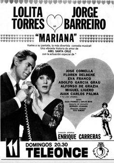 Publicidad de la comedia MARIANA, Canal 11, Buenos Aires, década del 60.