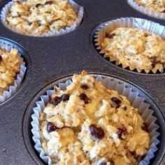 Banana Blueberry Oatmeal Cupcakes: 3	mashed bananas (the riper the better!), 1	cup vanilla almond milk, 2	eggs, 1	tbsp baking powder, 3	cups oats, 1	tsp vanilla extract, 3	T. Blueberries Bake at 380 for 21mins