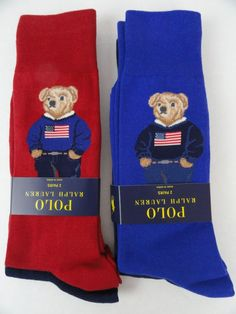 4 Pair NWT Polo Ralph Lauren Socks Teddy Bear Flag Sweater Red/Royal/Navy NEW #PoloRalphLauren #CasualCrewDress