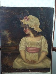 Oil painting given to me by my grandmother, it was brought from England in the later part of the 1800's. The picture is of Theophila Gwatkin.