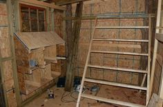 Interior Chicken Co-op Ideas | roosts are completed using 2x3s i constructed the nest units ...