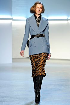 Rodarte Fall 2012 - love the oversized but open collar and contrasting belt on this coat.  Also love the color combo with the skirt.  Not in my palette but lovely.