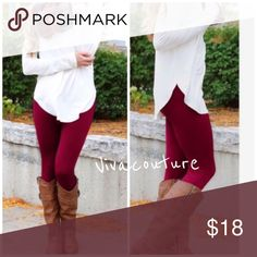 Burgundy High Waist Tummy Tuck Fleece Leggings Burgundy best selling style high waist tummy tuck burgundy fleece lined leggings will fit 0-8 and due to search purposes listing with size breakdown nwt . One size fits most sizing on tag Great for the season. Also available in black in this style. Other styles available in my closet in many colors . Vivacouture Pants Leggings