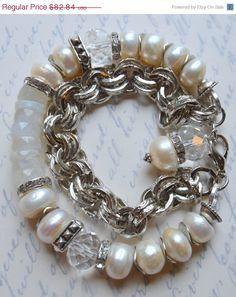 ON SALE chunky bracelet, chunky chain bracelet, wrap bracelet, pearl bracelet, rainbow moonstone bracelet, multi strand bracelet, free shipp