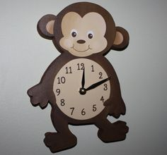 Monkey Wooden WALL CLOCK for Kids Bedroom Baby by ToadAndLily, $45.00