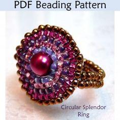 "Circular Brick Stitch Ring ""Circular Splendor Ring"" PDF Beading Pattern"