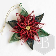 Poinsettia Holiday ornament Christmas quilling Christmas