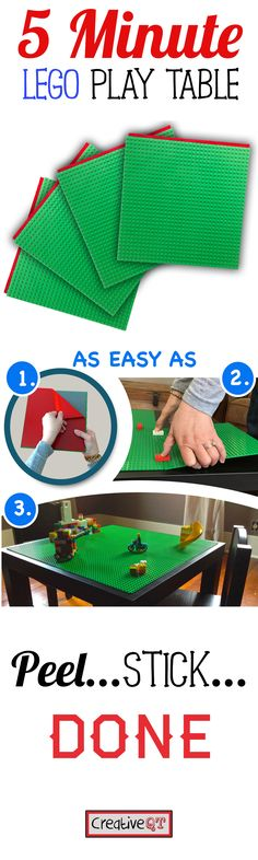 The Fastest and Easiest way to give your kids the LEGO play table they have been begging you for. Check it out on Amazon.   Simple, fast, no mess.