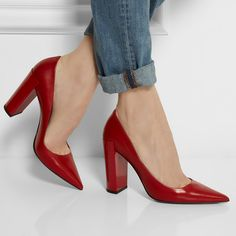 Pierre Hardy Red Chunky Heel Pumps for Fall