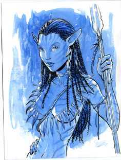 Neytiri Avatar watercolor by MichaelDooney on DeviantArt Avatar Makeup, Avatar James Cameron, Avatar Poster, Avatar Fan Art, Avatar Movie, Dc Comics Art, You Draw, Fantasy Women, Anime Life