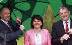 Tourism Minister Arlene Foster  was 'driving' home the message from the Roe Park Resort's Industry Symposium with Garbhan Downey, left, of the Culture Company and Geoffrey Conn a member of the Roe Park Resort Board.