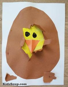 Children will love to help the chick hatch from the egg with this simple chick hatching activity and craft (our inspitation for this craft came from here).