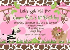 jungle themed first birthday party invitations
