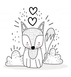 Doodle Drawings, Doodle Art, Desenho Kids, Embroidery Patterns, Hand Embroidery, Baby Drawing, Cute Fox, Animal Sketches, Colouring Pages