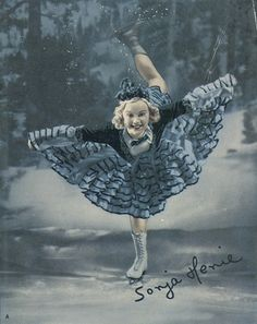 """Sonja Henie in her first mass-produced color publicity shot, coinciding with the return engagement of her first film """"One in a Million."""""""