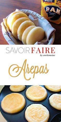 This the traditional Venezuelan arepas recipe. Arepas are made with pre cooked corn flour (arepa flour). They can be eaten with ham, cheese, meat, chicken and tuna salad. Gluten Free Recipes, Vegan Recipes, Cooking Recipes, Drink Recipes, Mexican Dishes, Mexican Food Recipes, Spanish Dishes, Ethnic Recipes, Venezuelan Food