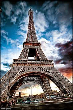 A close up shot of the Eiffel Tower in Paris