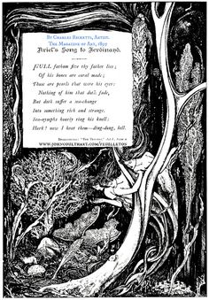 """Ariel's Song, 1895 by Charles RICKETTS (Artist. UK, 1866-1931). from The Tempest by William Shakespeare. """"One of several Shakespeare illustrations that Ricketts produced for The Magazine of Art."""" via John Coulthart's website; Oct 7, 2010. More on Ricketts: http://en.wikipedia.org/wiki/Charles_Ricketts"""