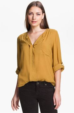 Max & Mia Split Neck Blouse available at #Nordstrom