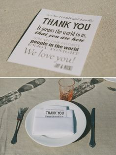 thank you card at table